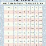 Photo of 10 week half marathon training plan schedule on a blue back ground.