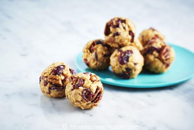 Chopped dried cranberries and pecans add both flavour and crunch to these Fruit-and-Nut Peanut Butter Snack Bites. Enjoy these easy-to-make tasty peanut butter treats anytime of day.
