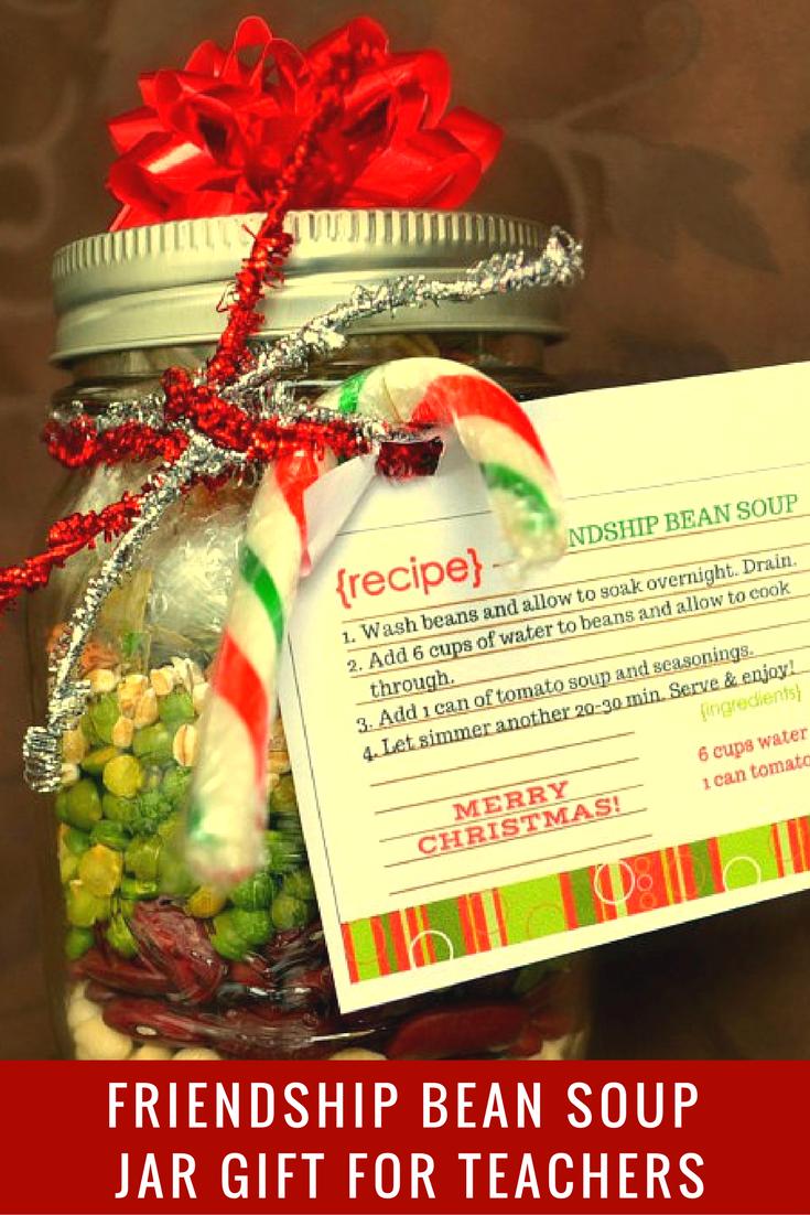 Friendship Bean Soup in a Jar - a healthy gift for teachers