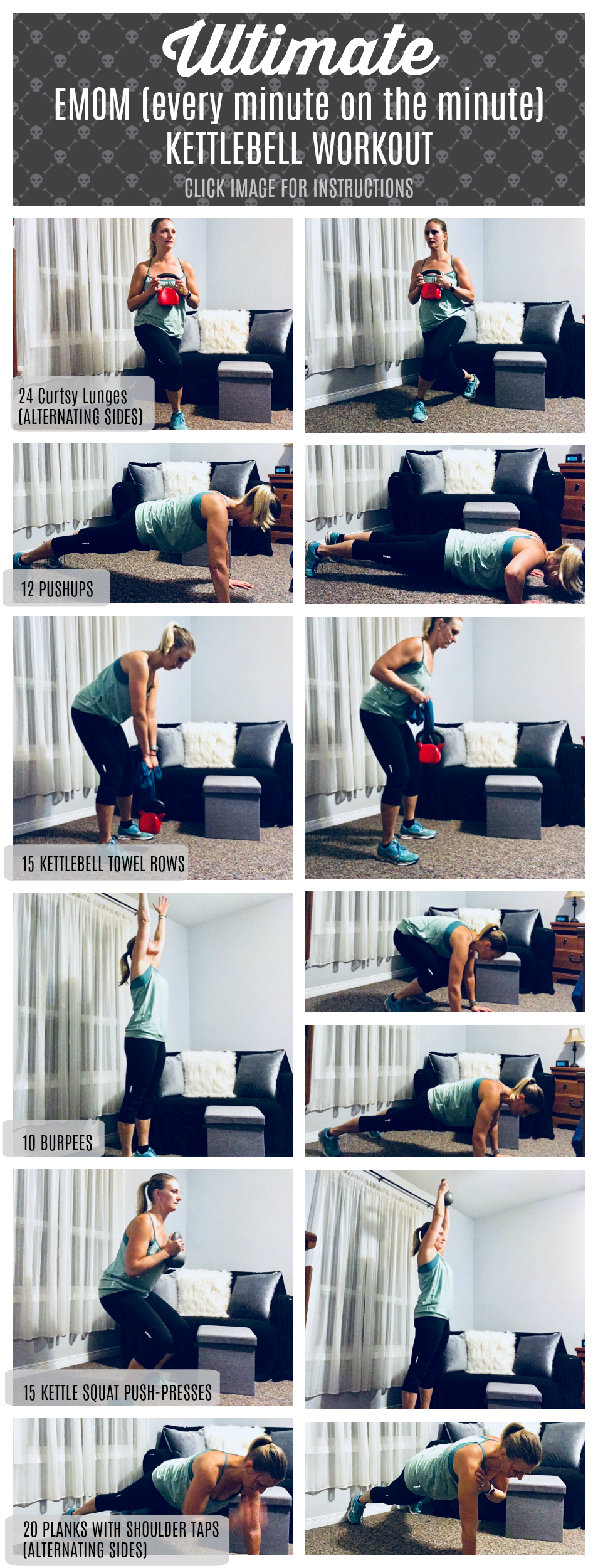 Ultimate EMOM Kettlebell Workout - 3 rounds of work, 7 minutes each round. Visit: https://www.salads4lunch.com/?p=35114 for instructions #kettlebell #workout