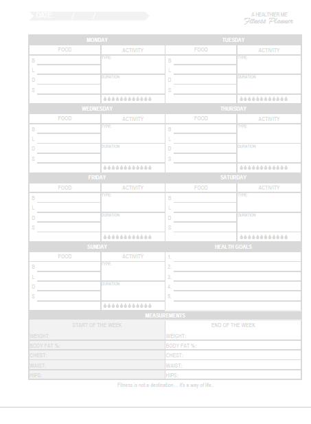 Do you want to be healthy? Drink more water? Exercise regularly? and eat healthy? But like me, do you get derailed from your fitness goals easily because you really like breakfast tacos and soda?  If so, I have something for you a free printable meal and fitness planner! #fitnessplanner #happyplanner #printableplanningpages #happyplannerprintable #weightloss