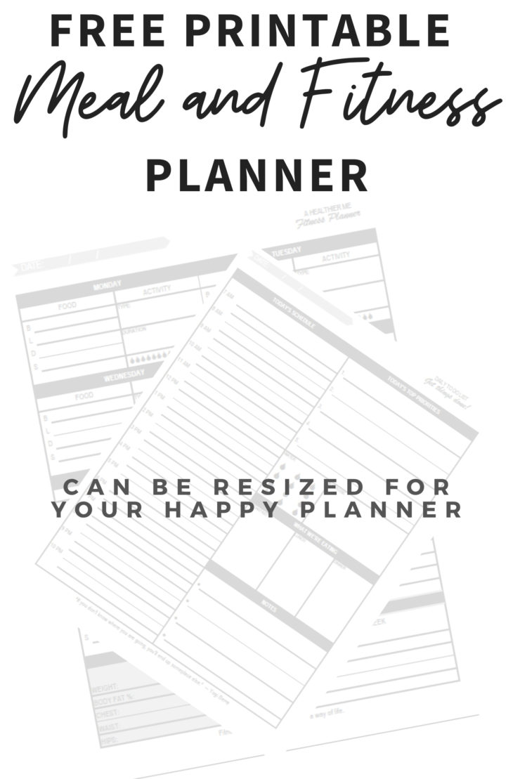 Collage showing the two pages of the meal and fitness planner with text overlay.