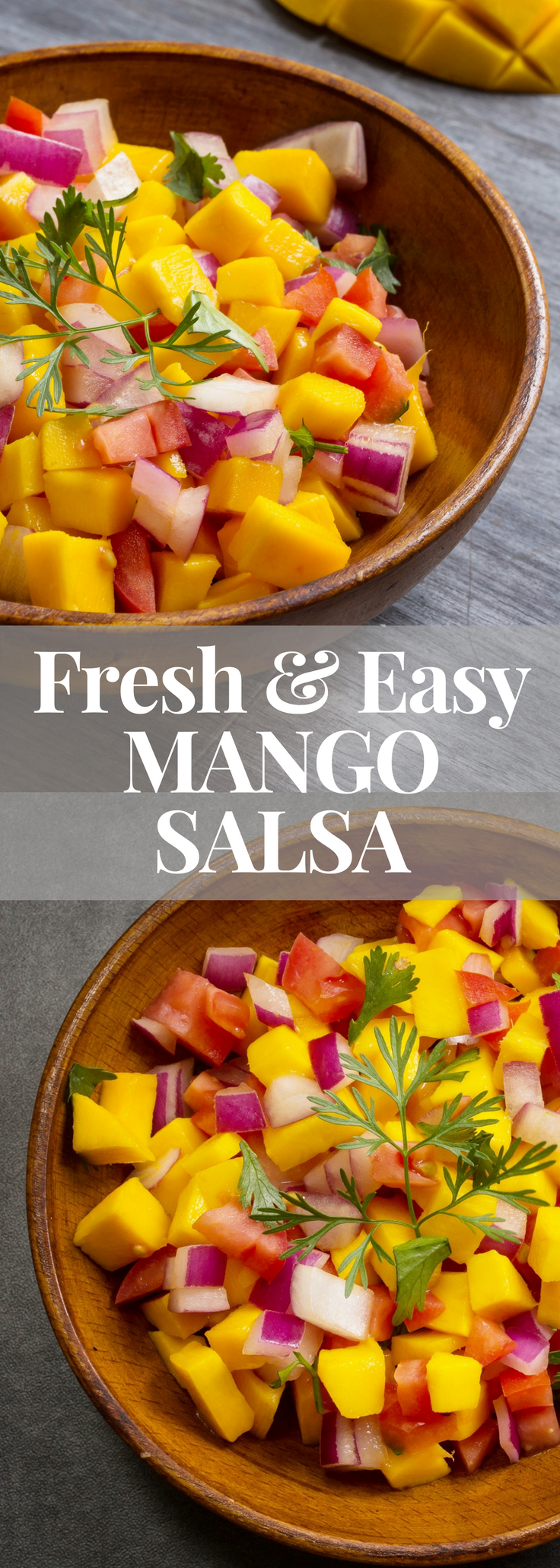 This fresh and easy mango salsa is perfect for entertaining - the juices from theripemango, tomatoes and lime just mingle together, make friends and create a burst of flavours in your mouth. Serve with salmon as a main course or with tortilla chips as an appetizer. #mangosalsa #partyfood #gameday #salsa #healthypartyfood