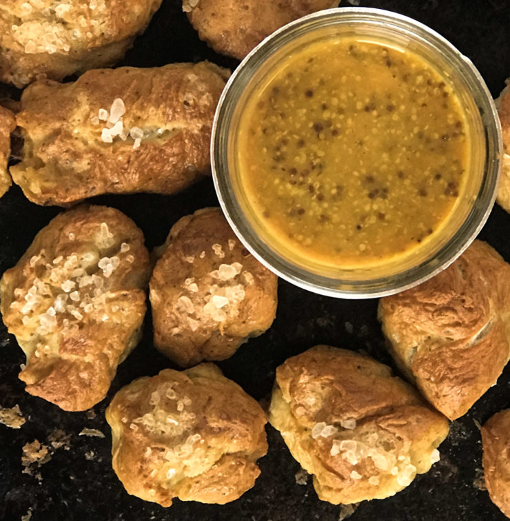 Pretzel Bites with Spicy Mustard Dip