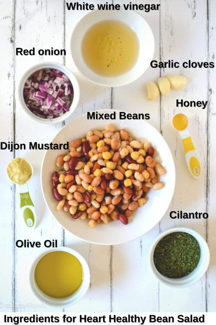 Overhead photo of ingredients needed to make bean salad: mixed beans, cilantro, red onion, dijon mustard, white wine vinegar, honey, and olive oil.
