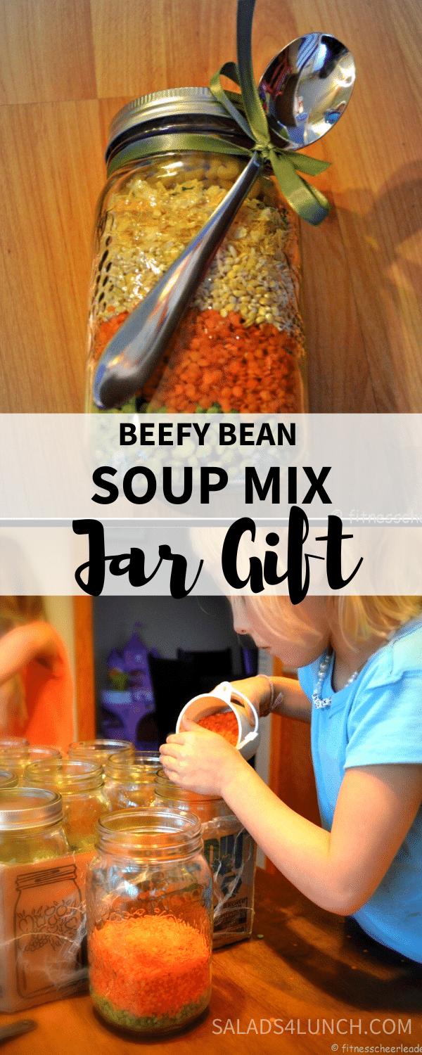 """Beefy Bean Soup Mix Jar Gift ~ Nothing says """"Mmm good"""" like homemade soup! These make a fabulous and healthy jar gift to give to teachers for Christmas!"""