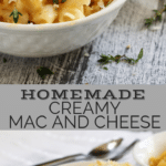 Homemade creamy baked mac and cheese doesn't have to be complicated with layers of ingredients to be the soul-warming food you crave. This homemade baked macaroni and cheese is my most favorite and has pleased crowds, small families, kids and picky eaters alike–give it a try and you'll see why. #comfortfood #kidfriendly #casserole #pastarecipe #macandcheese #dinnerinspiration