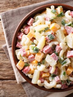 This Hawaiian Pasta Salad is a refreshing alternative to a Hawaiian Pizza that is perfect to take to a cookout. Or, for a simple dinner at home with some grilled barbecued chicken.