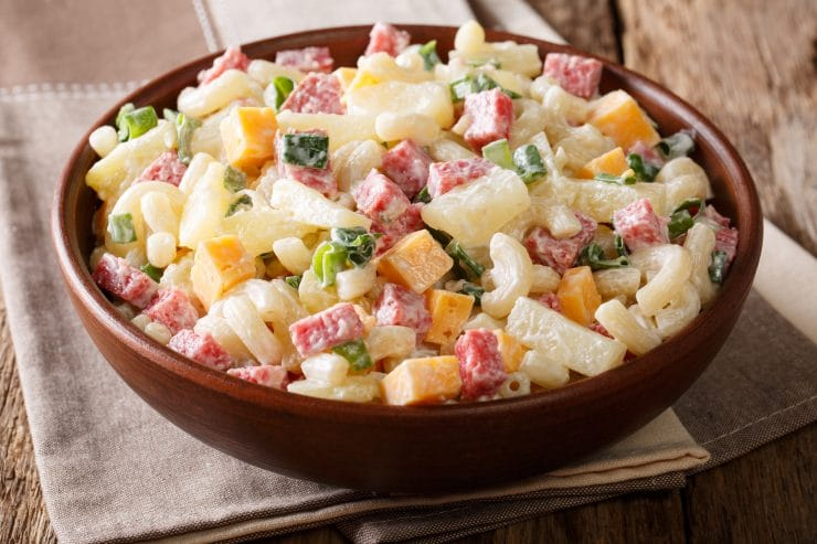 Hawaiian Pasta Salad Recipe - This Hawaiian Pasta Salad is a refreshing alternative to a Hawaiian Pizza that is perfect to take to a cookout. Or, for a simple dinner at home with some grilled barbecued chicken.  #Hawiian #salad #salads4lunch #potluck