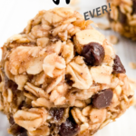 No bake peanut butter banana energy bites are soft, sweet, and the perfect little healthy snack to tide you over until your next meal! No baking required and made with just 6 healthy ingredients. #healthysnack #peanutbutterballs #peanutbutterbites #bananarecipe