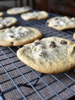Photo of delicious soft baked chocolate chip cookies cooling in a cooling rack.