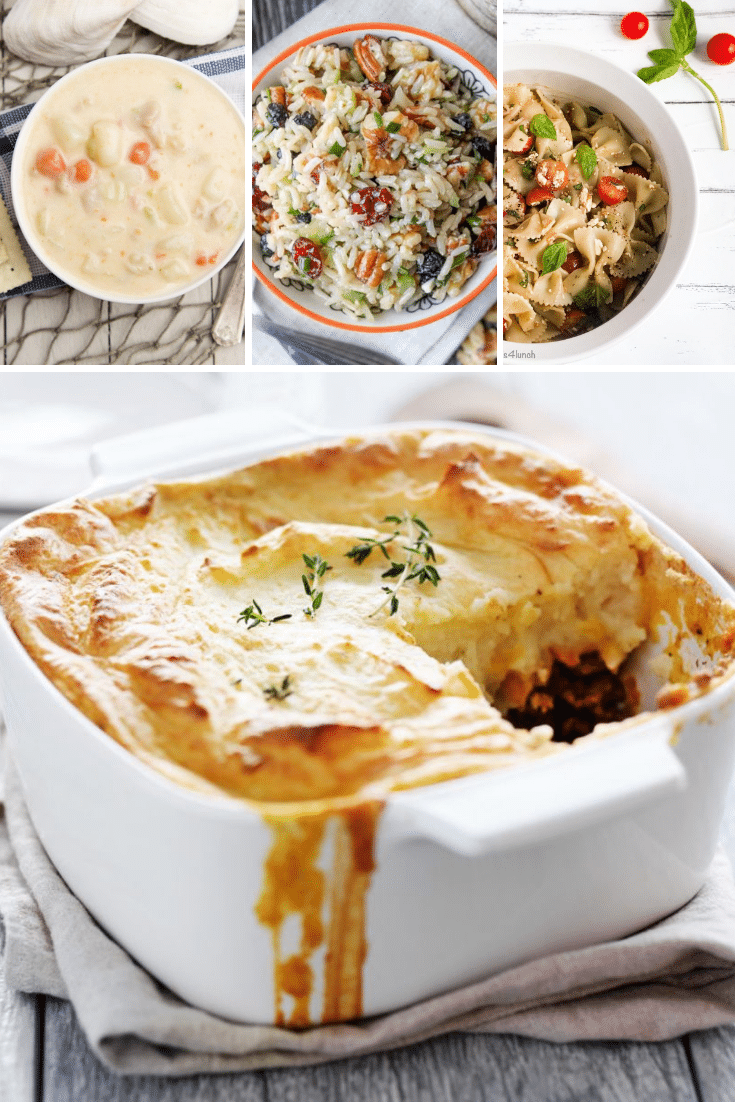 Collage of favorite recipes from Salads for Lunch showing shepherd's pie, seafood chowder and feta bruschetta pasta salad