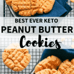 keto peanut butter cookies on cooling rack