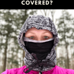 Photo of a female runner with her mouth covered by a buff