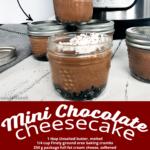 Close up of Mini Instant Pot Chocolate Cheesecake in a mini mason jar.