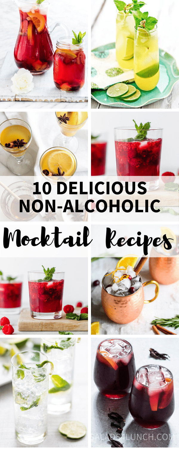 Collage of non-alcoholic drinks and mocktails for dry February on a white background with 10 delicious non-alcoholic mocktail recipes text overlay