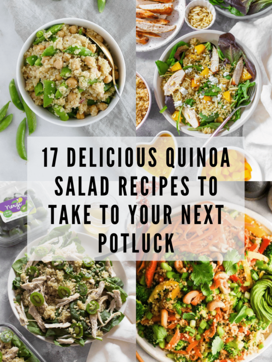Collage of quinoa salads with text overlay