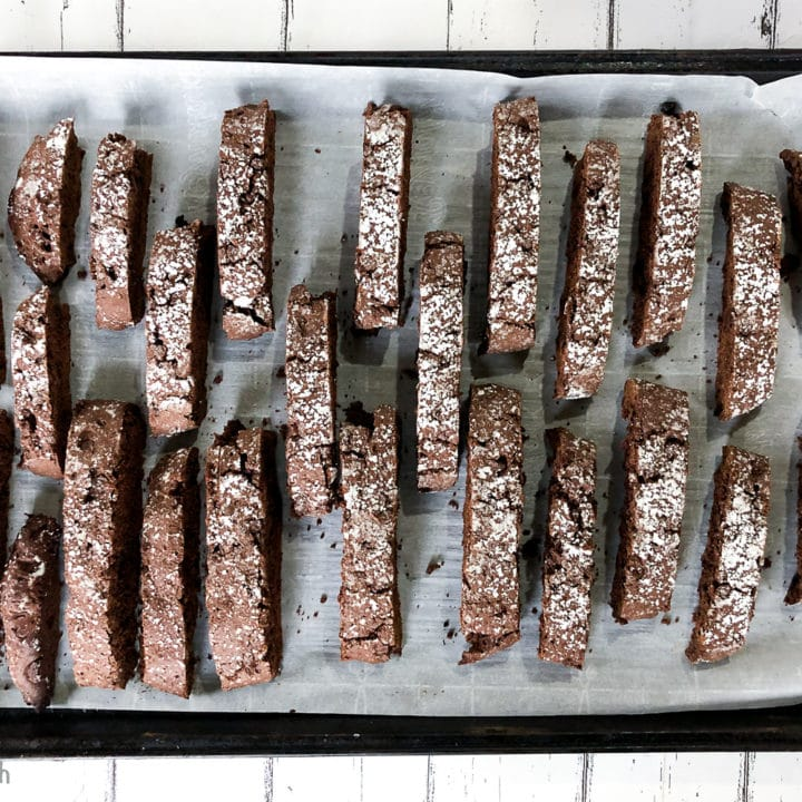 An easy Double Chocolate Biscotti Recipe that is perfect to serve with coffee or share as gifts during the holidays.