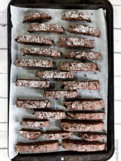 Double chocolate biscotti on a baking sheet lined with parchment paper