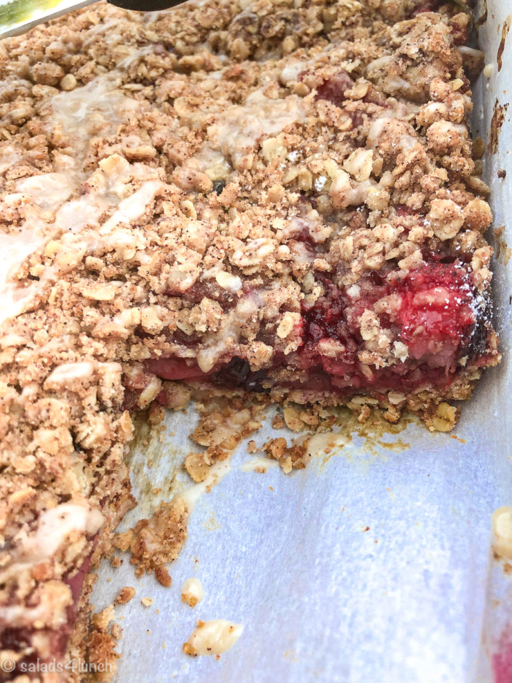 Close up of Blueberry and Strawberry Oatmeal Crumble Bars in a baking pan