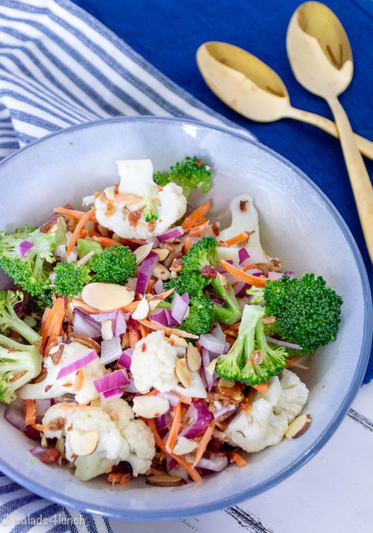 Broccoli Cauliflower Salad with Bacon and Almonds