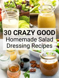 Collage of homemade salad dressings with text overlay