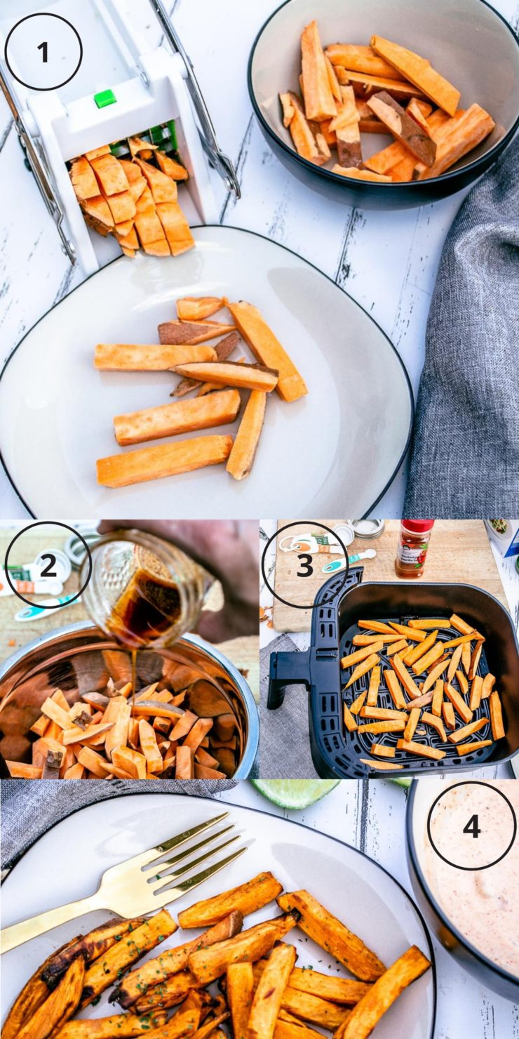 Collage of four photos showing the steps how to make sweet potato fries 1- slice sweet potatoes, 2 - season sweet potatoe slices, air frye