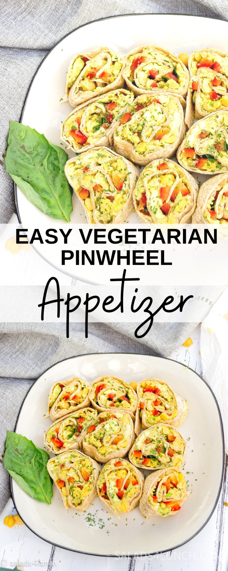 Nine vegetarian pinwheel sandwiches made with avocado, chickpeas and pesto on a white plate with black rim with a grey napkin to the side with text overlay that says: Easy Veggie Pinwheel Sandwiches.