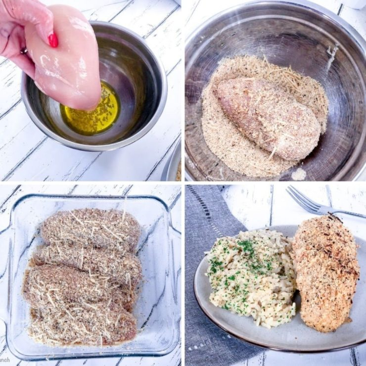 Collage showing chicken being coated in olive oil and garlic, then being covered in bread crumbs and parmesan, then arranged in a baking dish, then on white plate with risotto.