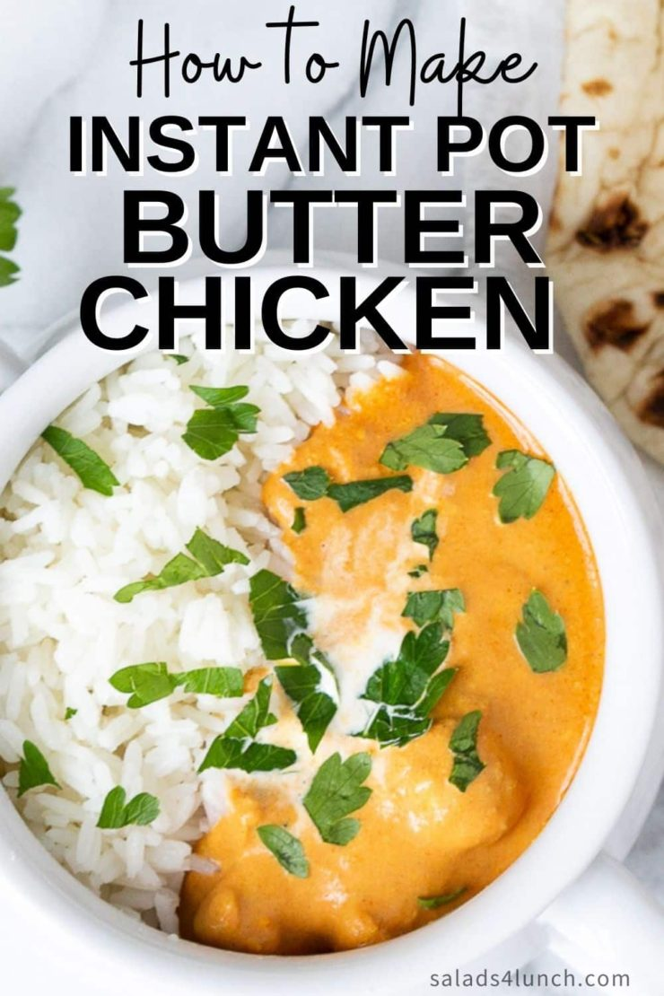 Top view of Indian butter chicken with jasmine rice in a white bowl.
