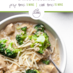 "Long photo of chicken broccoli and rice casserole in a white bowl with a tan linen napkin with text overlay that says ""Easy Instant Pot Chicken Broccoli and Rice Casserole""."