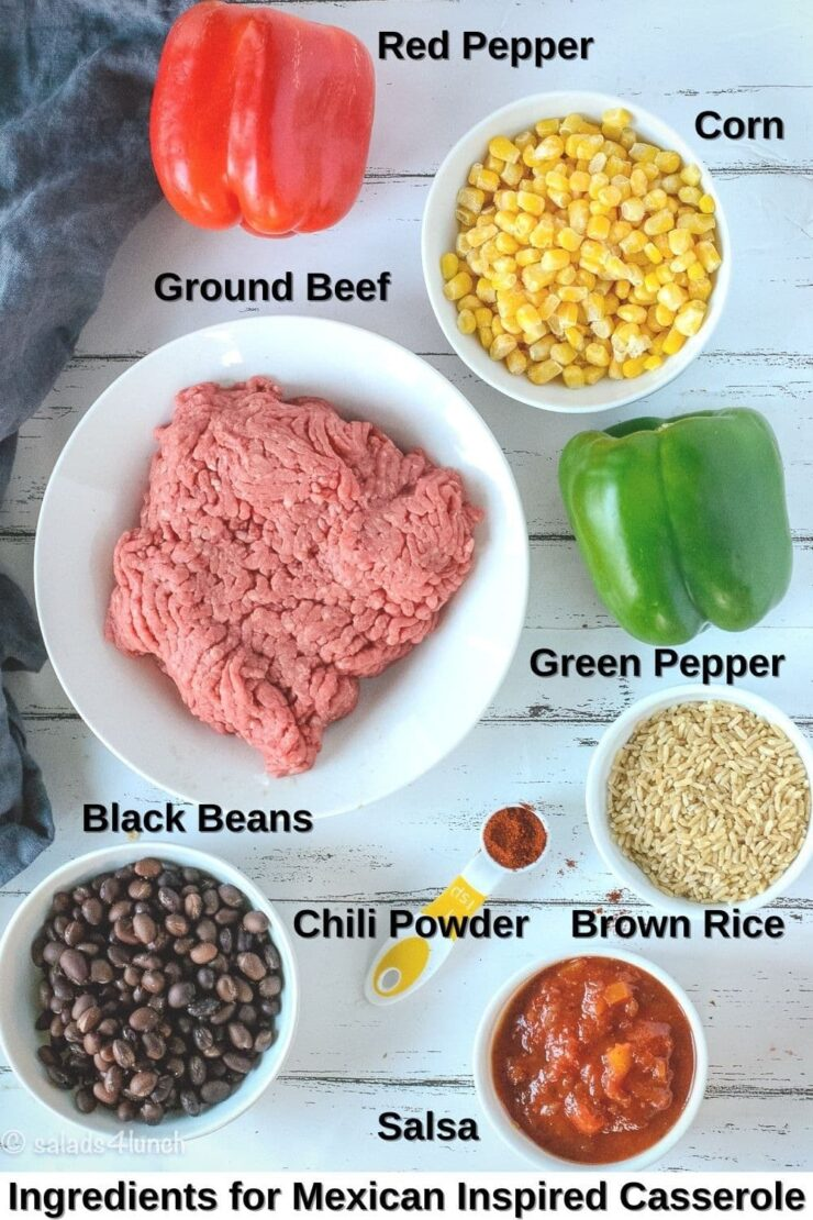 Photo showing the ingredients for Mexican Inspired Casserole, from left to right: Red Pepper, Corn, Ground Beef, Green Pepper, Black Beans, Chili Powder, Brown Rice, and Salsa.
