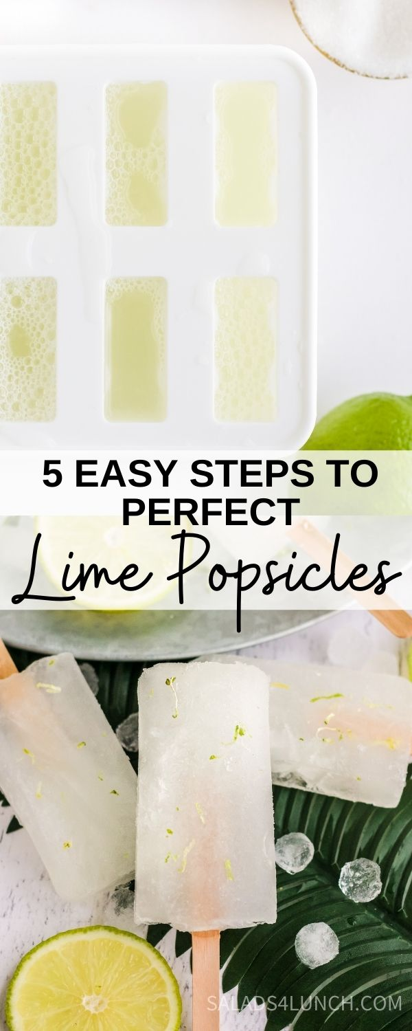 "Close up of lime popsicles in a grey tub with ice and text overlay: how to make limeade popsicles""."
