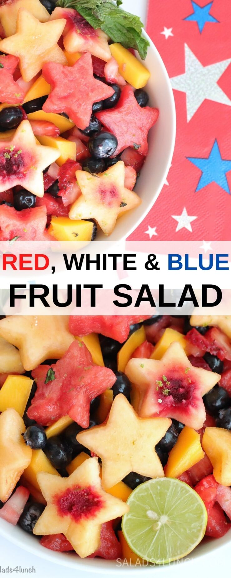 "Collage of overhead photos of a beautiful fruit salad with watermelon and peaches cut into stars, mango and blueberries with text overlay that says: Red, White and Blue Fruit Salad""."
