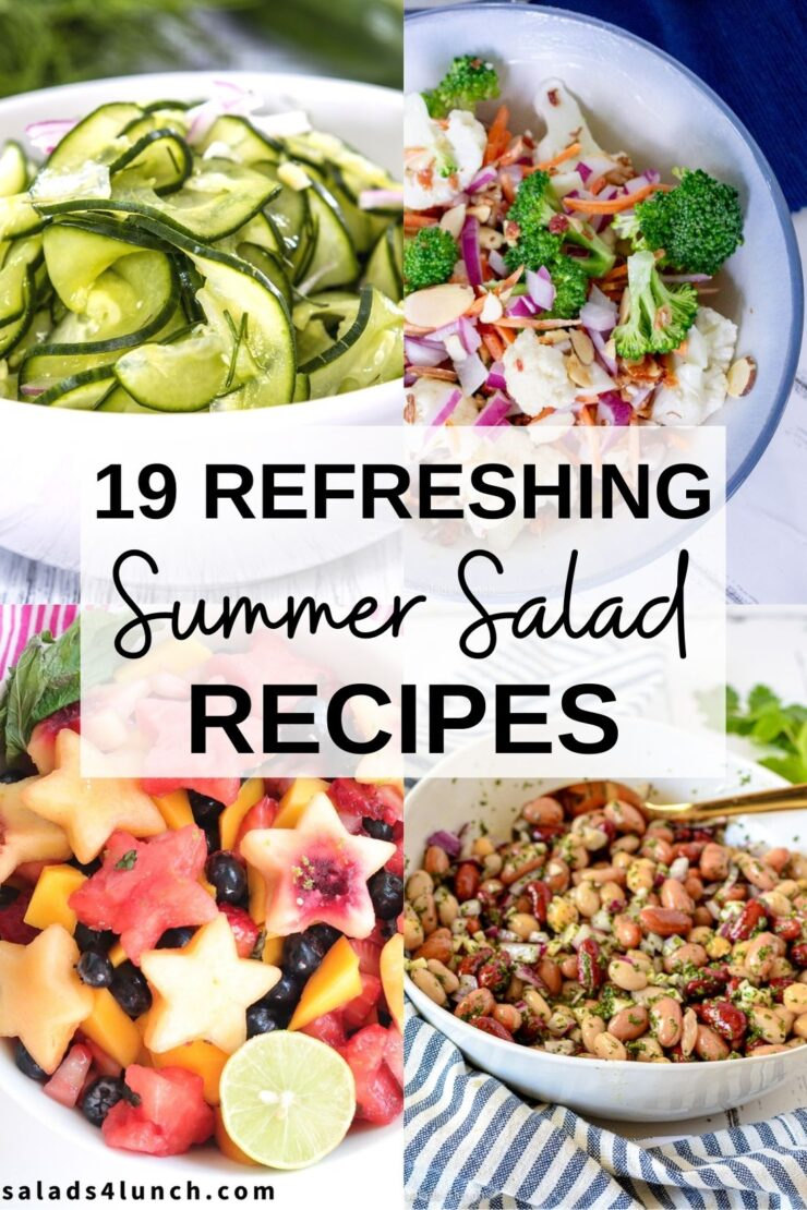 Collage of four colourful summer salad ideas and refreshing summer salads.