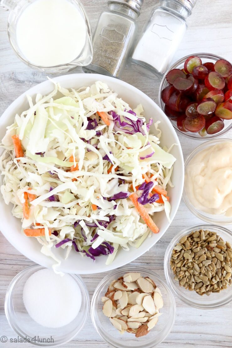 Overhead photo of ingredients needed to make creamy coleslaw salad, including coleslaw cabbage mix, red grapes, sunflower seeds, almonds, mayonnaise, milk and sugar.