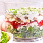 Trifle bowl with EIGHT delicious layers of lettuce, topped with grilled chicken, tomatoes, boiled eggs, homemade dressing, crispy bacon, crumbled blue cheese and green onions.