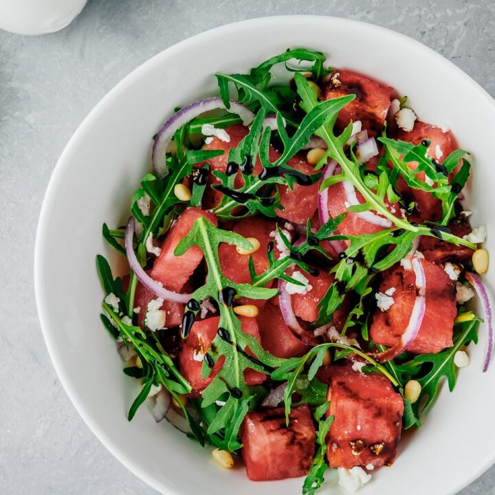 Arugula and Watermelon Salad with Red Onion, Feta and Pine Nuts